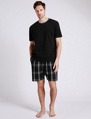 Pure Cotton Monochrome Checked  T-Shirt & Shorts Set, BLACK MIX, catlanding