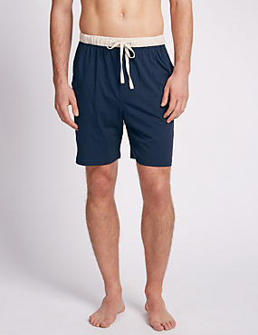 2 Pack Pure Cotton Contrast Trim Pyjama Shorts