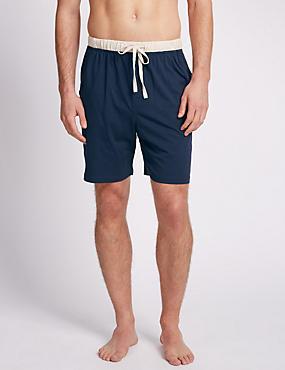 2 Pack Pure Cotton Contrast Trim Pyjama Shorts , BLUE MARL, catlanding