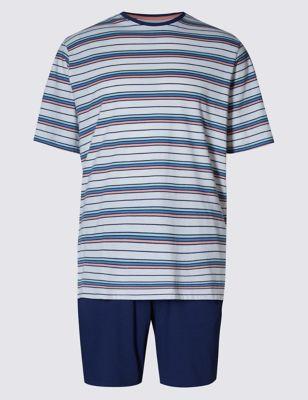 Пижама из чистого хлопка: футболка в полоску и однотонные шорты M&S Collection T072021