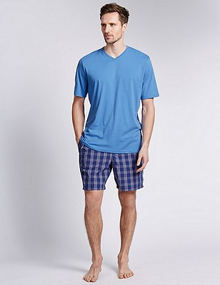 Pure Cotton T-Shirt & Checked Shorts Set, MULTI, catlanding