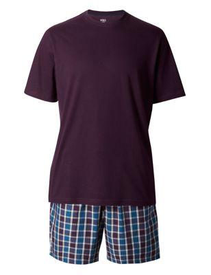 Пижама из чистого хлопка: однотонная футболка и шорты в клетку