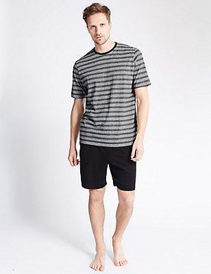 2in Longer Pure Cotton Striped Pyjama Short Set, BLACK MIX, catlanding