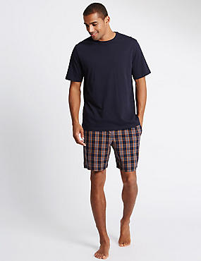 Pure Cotton Checked Top & Shorts Pyjamas, NAVY MIX, catlanding