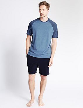 Pure Cotton Stay Soft Raglan Sleeve Marl T-Shirt & Shorts Set, BLUE MIX, catlanding