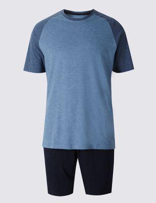 Мягкая пижама из чистого хлопка: двухцветная футболка реглан и шорты