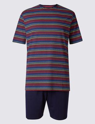 Хлопковая пижама в полоску из чистого хлопка M&S Collection T072050