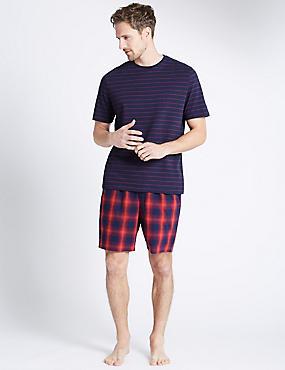 Pure Cotton Striped & Checked Pyjama Short Set, NAVY MIX, catlanding