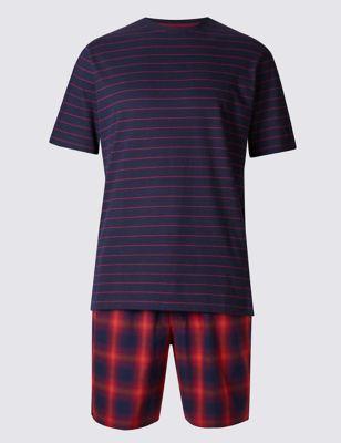 Хлопковая пижама мужская (топ и шорты до колен) M&S Collection T072052