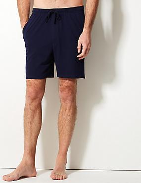 2er-Pack Schlafanzug-Shorts aus reiner Baumwolle mit Kontrastrand und Stay Soft, MARINEBLAU/BLAU, catlanding