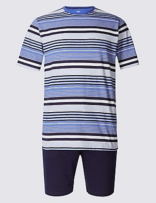 Pure Cotton Striped Pyjama Short Set, PURPLE MIX, catlanding