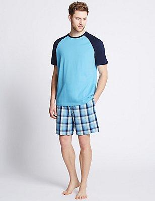 Pure Cotton Checked Pyjama Short Set, TURQUOISE MIX, catlanding