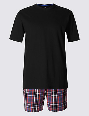Pure Cotton Checked Pyjama Short Set, RED/BLACK, catlanding