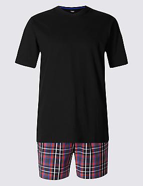 Pure Cotton Checked Pyjama Short Set, RED/BLACK, catlanding