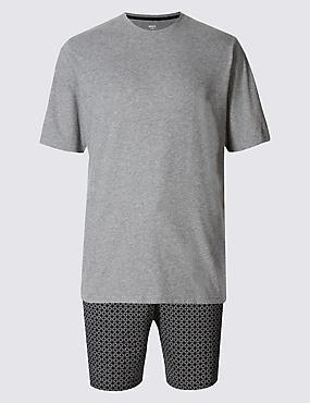 Ensemble pyjashort 100% coton avec imprimé, GRIS ASSORTI, catlanding