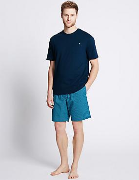 Pure Cotton Printed Pyjama Short Set, NAVY MIX, catlanding