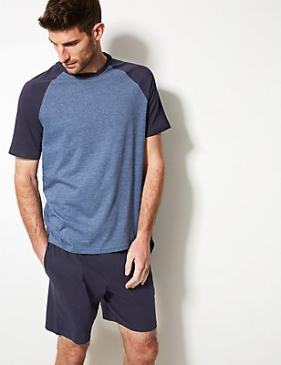 Ensemble pyjashort 100% coton à rayures, BLEU MARINE ASSORTI, catlanding