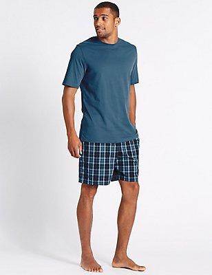 Pure Cotton Checked Pyjama Shorts Set, SLATE BLUE, catlanding