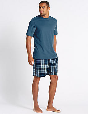 Pure Cotton Checked Pyjama Short Set, SLATE BLUE, catlanding