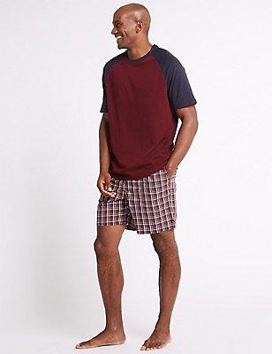 Pure Cotton Checked Pyjama Shorts Set, CLARET, catlanding