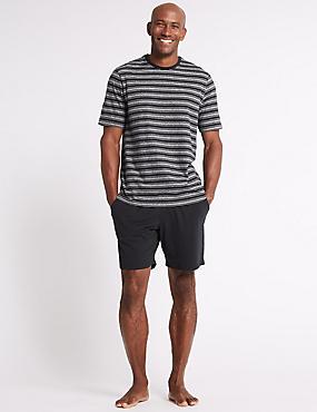 Pure Cotton Striped Pyjama Shorts Set, BLACK MIX, catlanding