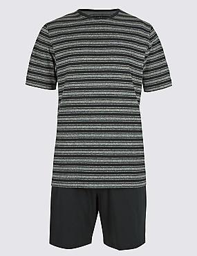 Pure Cotton Striped Pyjama Short Set, BLACK MIX, catlanding