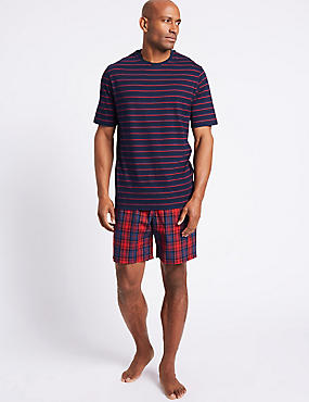 Pure Cotton Checked Pyjama Shorts Set, ORANGE MIX, catlanding