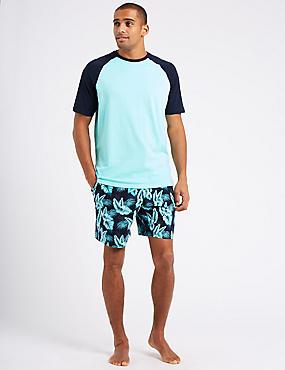 Pure Cotton Printed Pyjama Shorts Set, TURQUOISE MIX, catlanding