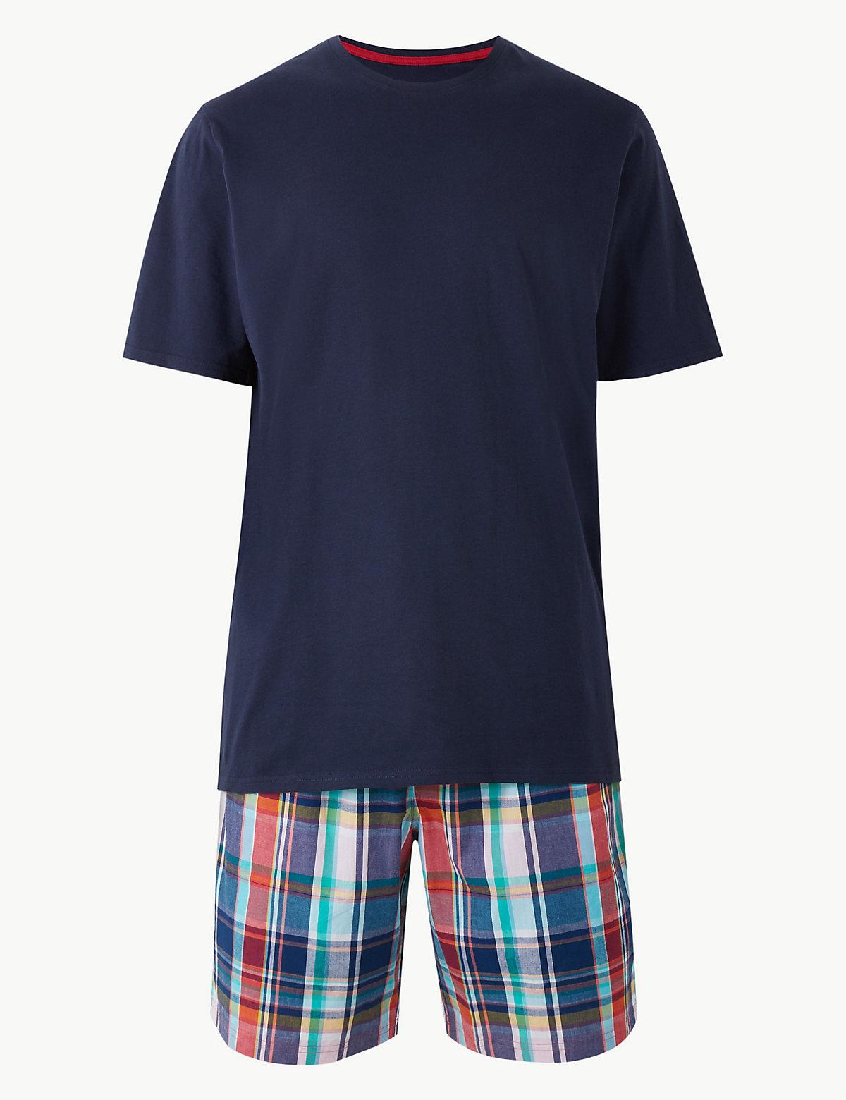 Пижама мужская из 100%-го хлопка: шорты в клетку и футболка с коротким рукавом