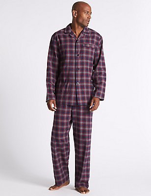Pure Brushed Cotton Checked Pyjama Set, CHARCOAL MIX, catlanding