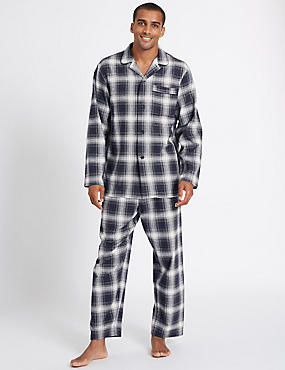 Pure Brushed Cotton Checked Pyjama Set, BLACK MIX, catlanding