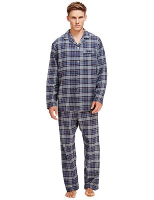 Brushed Cotton Thermal Checked Pyjamas, TEAL MIX, catlanding