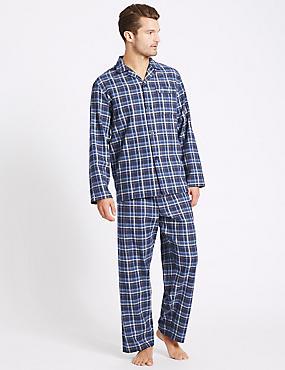 Pure Brushed Cotton Checked Pyjamas, BLUE MIX, catlanding
