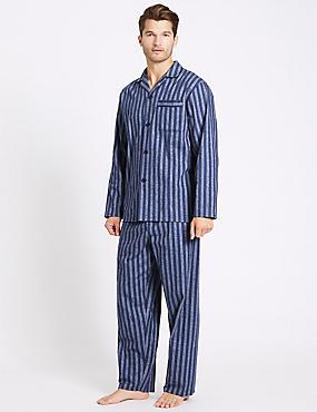 2in Longer Pure Brushed Cotton Pyjama Set, BLUE MIX, catlanding