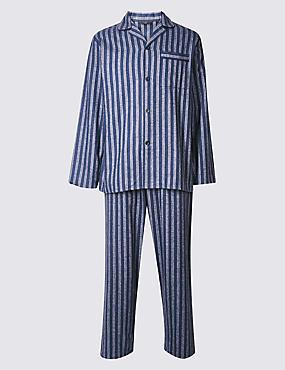 Big & Tall Pure Brushed Cotton Pyjamas, BLUE MIX, catlanding