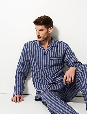 Pure Brushed Cotton Striped Pyjamas, BLUE MIX, catlanding