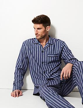 Pure Brushed Cotton Striped Pyjama Set, BLUE MIX, catlanding