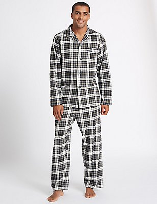 Pure Brushed Cotton Checked Pyjamas, KHAKI MIX, catlanding
