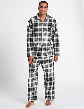 Pure Brushed Cotton Checked Pyjama Set, KHAKI MIX, catlanding