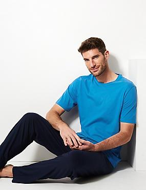 Pure Cotton Pyjama Set, BRIGHT BLUE, catlanding