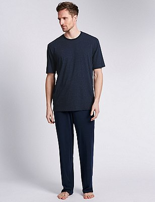 Cotton Rich Striped T-Shirt & Trousers Set, NAVY MIX, catlanding