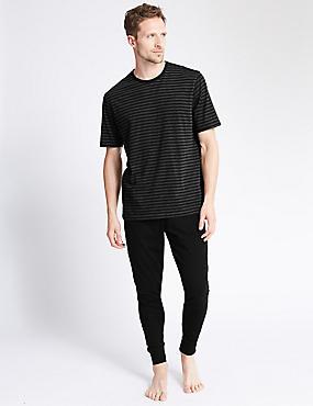Cotton Rich Striped T-Shirt & Joggers Set, BLACK MIX, catlanding