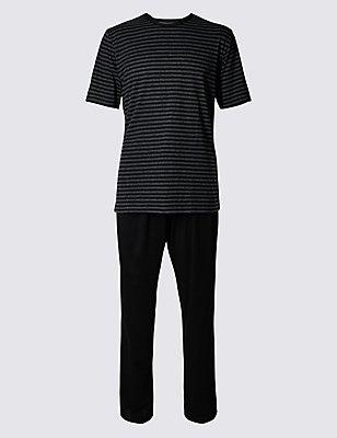 Cotton Rich Striped Pyjama Set, BLACK MIX, catlanding