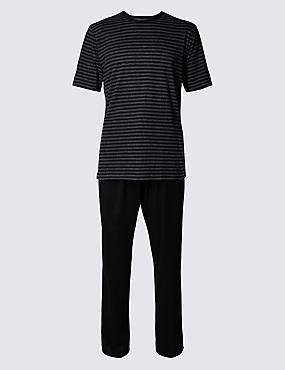 Cotton Rich Striped Pyjamas, BLACK MIX, catlanding