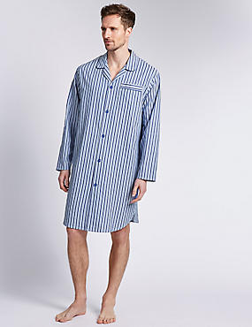 Pure Cotton Classic Striped Nightshirt, BLUE MIX, catlanding