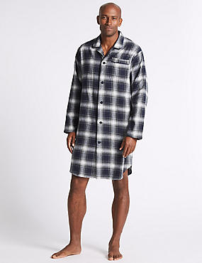 Pure Brushed Cotton Checked Nightshirt, BLACK MIX, catlanding