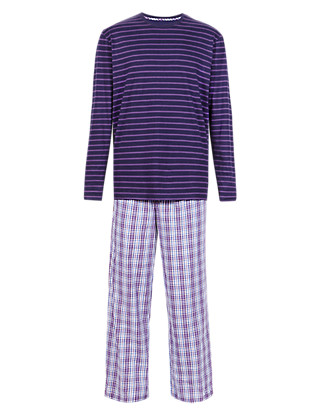 Pure Cotton Striped T-Shirt & Checked Trousers Set Clothing
