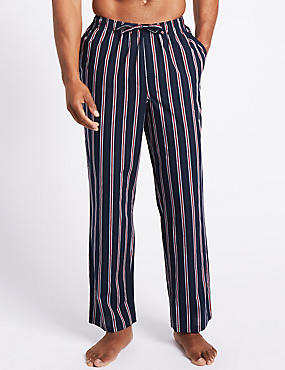 2 Pack Pure Cotton Long Pyjama Bottoms, RED MIX, catlanding