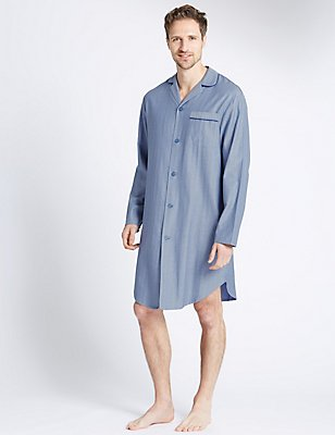 Pure Cotton Textured Herringbone Nightshirt, BLUE, catlanding