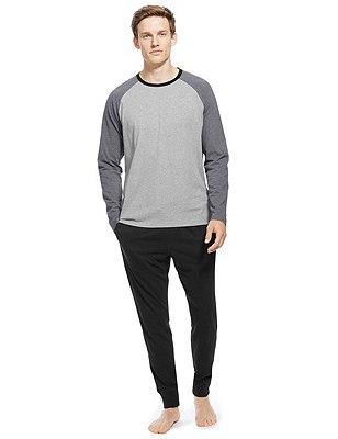Pure Cotton T-Shirt & Joggers Set, GREY MIX, catlanding